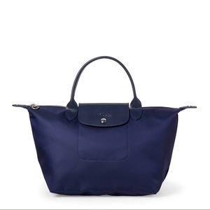 Longchamp Navy Le Pliage Cuir Neo Medium Satchel